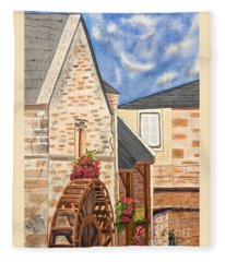 The Old French Mill Watercolor Art Prints Fleece Blanket