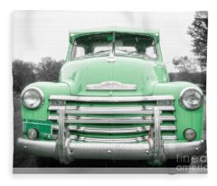 The Old Green Chevy Pickup Truck Fleece Blanket