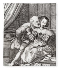 The Old Prurient, After A 16th Century French Engraving By Jaspar Isaac.   From Illustrierte Fleece Blanket