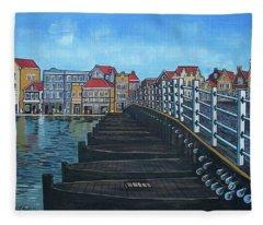 The Old Queen Emma Bridge In Curacao Fleece Blanket
