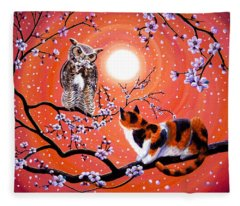 The Owl And The Pussycat In Peach Blossoms Fleece Blanket