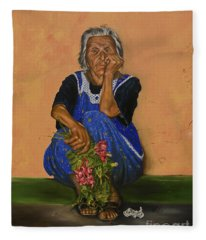 The Parga Flower Seller Fleece Blanket