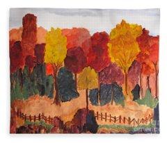 The Pasture In Autumn Fleece Blanket
