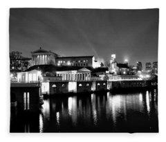 The Philadelphia Waterworks In Black And White Fleece Blanket
