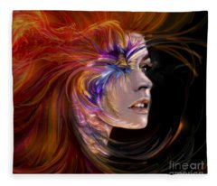 The Phoenix  Fire Flames And Rebirth Fleece Blanket