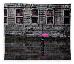 The Pink Umbrella Fleece Blanket