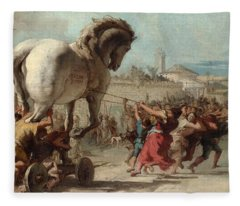 The Procession Of The Trojan Horse Into Troy Fleece Blanket