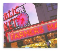 The Public Market Seattle Wa Usa Fleece Blanket