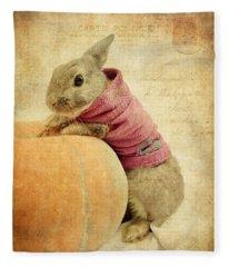 The Rabbit And The Pumpkin Fleece Blanket