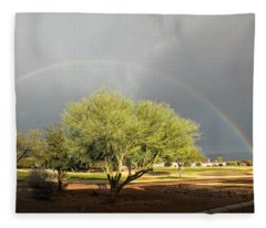 The Rain And The Rainbow Fleece Blanket