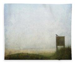 The Raven And The Beach Fleece Blanket