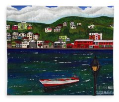 The Red And White Fishing Boat Carenage Grenada Fleece Blanket