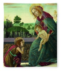The Rockefeller Madonna. Madonna And Child With Young Saint John The Baptist Fleece Blanket