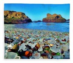 Glass Beach In Cali Fleece Blanket