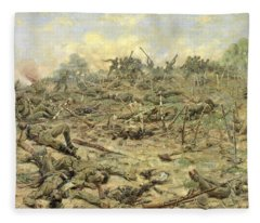 The Russian Infantry Attacking The German Entrenchments Fleece Blanket