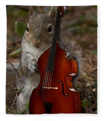 The Squirrel And His Double Bass Fleece Blanket