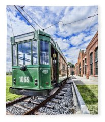 The Stib 1069 Streetcar At The National Capital Trolley Museum I Fleece Blanket