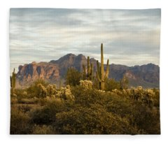 The Superstition Mountains Fleece Blanket