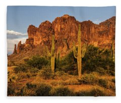 The Superstitions At Sunset  Fleece Blanket