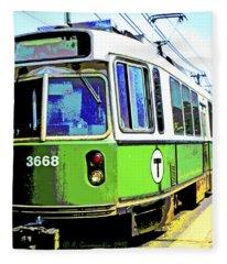 The T Trolley Car Boston Massachusetts 1990 Poster Fleece Blanket