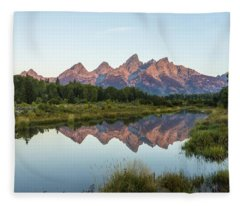 The Tetons Reflected On Schwabachers Landing - Grand Teton National Park Wyoming Fleece Blanket