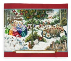 The Twelve Days Of Christmas Fleece Blanket