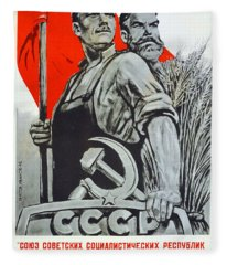 The Ussr Is The Socialist State For Factory Workers And Peasants Fleece Blanket