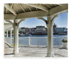 The View From The Boardwalk Gazebo At Disney World Fleece Blanket