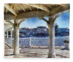 The View From The Boardwalk Gazebo Wdw 02 Photo Art Fleece Blanket