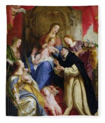 The Virgin Offering The Rosary To St. Dominic Fleece Blanket