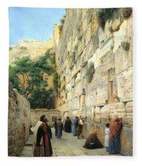 The Wailing Wall Jerusalem Fleece Blanket