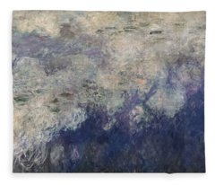 The Waterlilies - The Clouds Central Section 1915-26 Oil On Canvas See Also 64184 & 64186 Fleece Blanket
