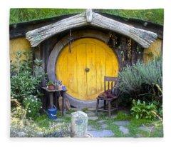 Yellow Hobbit Door Fleece Blanket