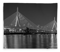 The Zakim Bridge Bw Fleece Blanket