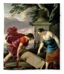 Theseus And His Mother Aethra, C.1635-36 Oil On Canvas Fleece Blanket