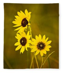 A Trio Of Black Eyed Susans Fleece Blanket