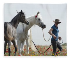 Three At The Poppies' Field... 1 Fleece Blanket