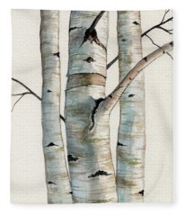 Three Birch Trees Fleece Blanket