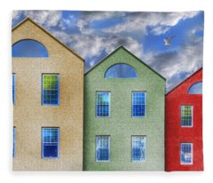 Three Buildings And A Bird Fleece Blanket