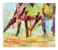 Three Children Of Ghana Fleece Blanket