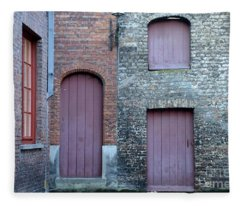 Three Doors And Two Windows Bruges, Belgium Fleece Blanket
