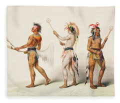 Three Indians Playing Lacrosse Fleece Blanket