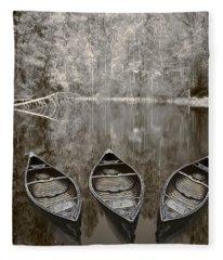 Three Old Canoes Fleece Blanket