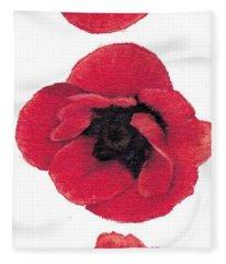 Three Red Poppies Fleece Blanket