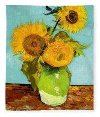 Three Sunflowers In A Vase Fleece Blanket