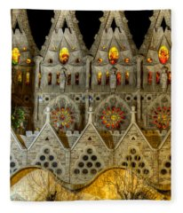 Three Tiers - Sagrada Familia At Night - Gaudi Fleece Blanket