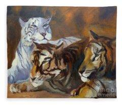 Three Tigers Fleece Blanket