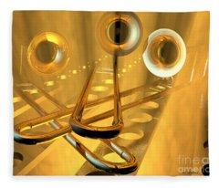 Three Trombones Fleece Blanket