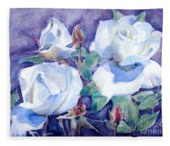 White Roses With Red Buds On Blue Field Fleece Blanket