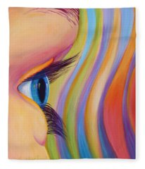 Fleece Blanket featuring the painting Through The Eyes Of A Child by Sandi Whetzel